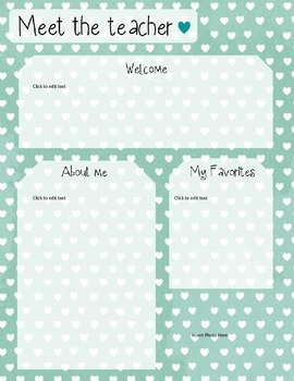 Mint Heart Meet The Teacher Template **Editable**