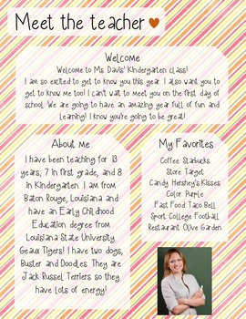 Candy Stripe Meet The Teacher Template **Editable**