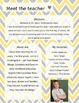 Yellow and Grey Chevron Meet The Teacher Template **Editable**