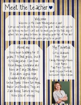 Blue and Gold Stripe Meet The Teacher Template **Editable**