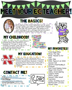 Meet Your EC Teacher Newsletter- EDITABLE