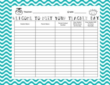 Meet Your Teacher Orientation Sign In Sheet