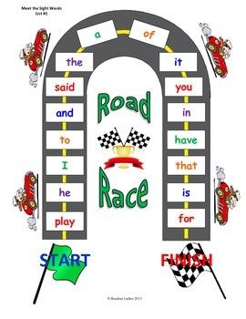 Meet the Sight Words Custom Road Race Game (Preschool Prep