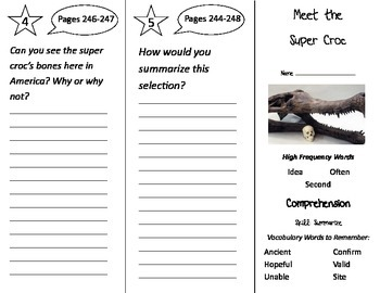 Meet the Super Croc Trifold - Treasures 2nd Grade Unit 5 W