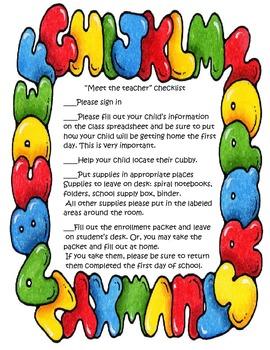 Meet the Teacher Checklist