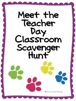 Meet the Teacher Classroom Scavenger Hunt