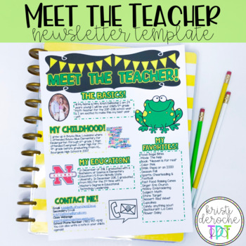 Meet the Teacher Newsletter- EDITABLE- Frog Theme