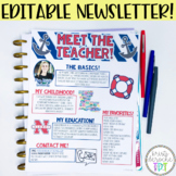 Meet the Teacher Newsletter- EDITABLE- Nautical (Red, Whit