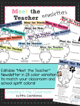 Meet the Teacher Newsletters-editable (28 color variations)