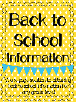 Back to School Information Pack