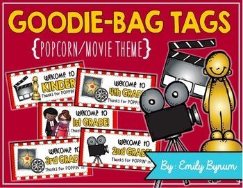 Meet the Teacher Night Goodie Bag Tags! (Popcorn/Movie Themed!)