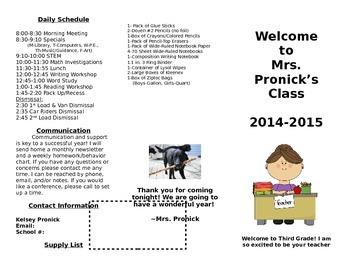 Meet the Teacher Parent Information Brochure