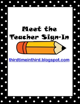 Meet the Teacher Sign In Sheet