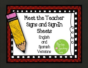 Updated Meet the Teacher Signs and Sign-In Sheets in Engli