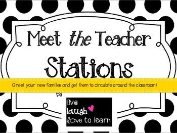 Meet the Teacher Stations - Black and White Polka Dot