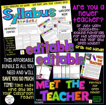 Meet the Teacher + Syllabus + Welcome Note BUNDLE {EDITABL