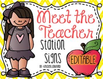 Meet the Teacher/Open House Station Signs ((Editable))