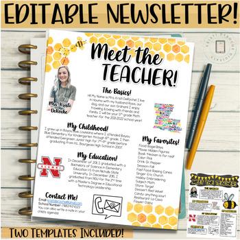 Meet the Teachers Newsletter EDITABLE- Bee - Black and Yel