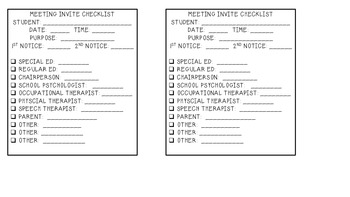 Special Education:  IEP Meeting Invite Checklist