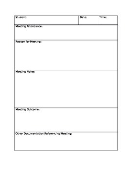 Meeting Notes Documentation Parent Teacher Conference Log