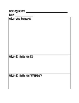 Meeting Notes Page for Teacher Binder