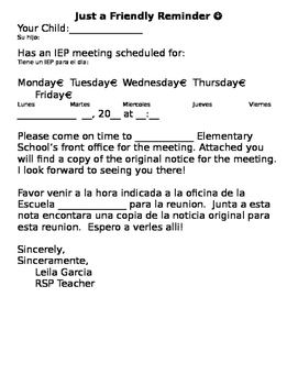 Meeting reminder for IEP's