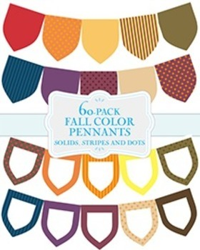 Mega 60-Pack of Fall Color Pennants in Stripes, Dots and Solids