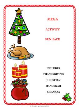 Mega Activity Fun Pack - Thanksgiving, Christmas, Hanukkah