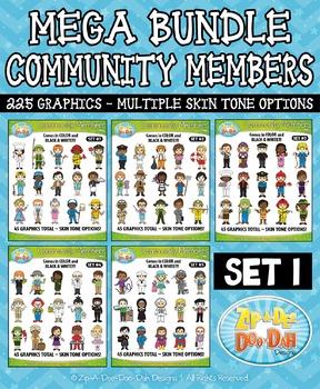 Mega Bundle Community Members Character Clipart Set 1 — In