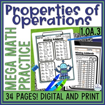 Properties of Operations Mega Math Practice 1.OA.3 First Grade