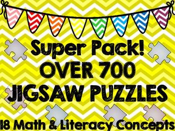 Puzzle Super Bundle--700 Math & Literacy Jigsaw Puzzles!