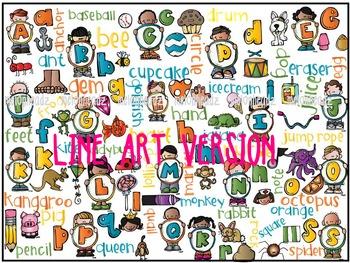 Mega alphabet by Melonheadz LINE ART
