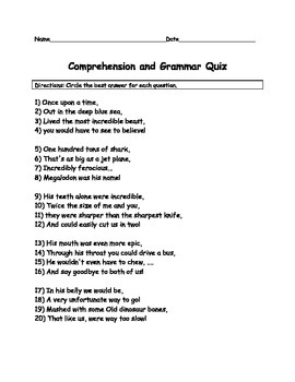 Megladon Shark poem comprehension assessment