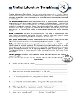 Medical Laboratory Technician Information & Worksheet
