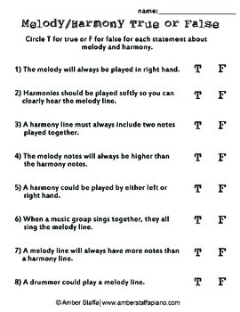 Melody and Harmony: True or False Worksheet