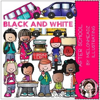 Melonheadz: After School clip art - BLACK AND WHITE