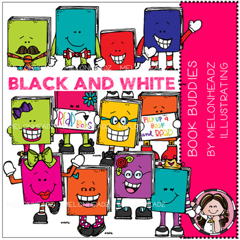 Melonheadz: Book Buddies clip art - BLACK AND WHITE