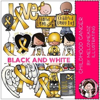 Melonheadz: Childhood Cancer Awareness BLACK AND WHITE