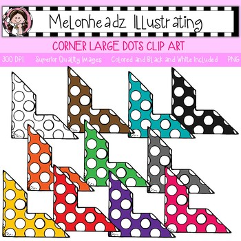 Melonheadz: Corner clip art - Large with dots - Single Image
