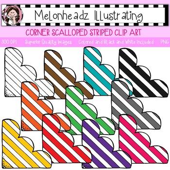 Melonheadz: Corner clip art - Scalloped and Striped - Sing