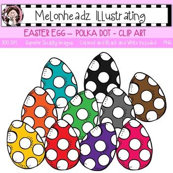 Melonheadz: Easter Egg clip art - Polka Dotted - Single Image
