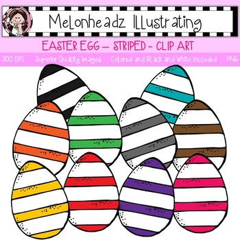 Melonheadz: Easter Egg clip art - Striped - Single Image