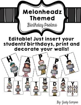 Melonheadz Editable Birthday Posters