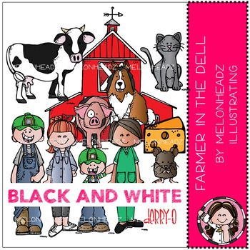 Melonheadz: Farmer in the Dell clip art 2016 - BLACK AND WHITE
