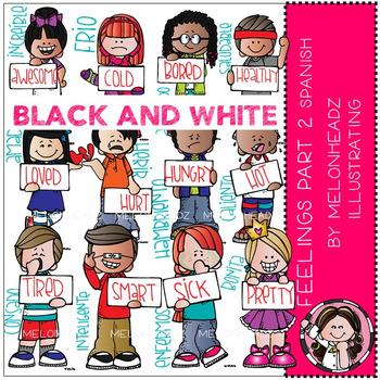 Melonheadz: Feelings clip art Part 2 - Spanish - BLACK AND WHITE
