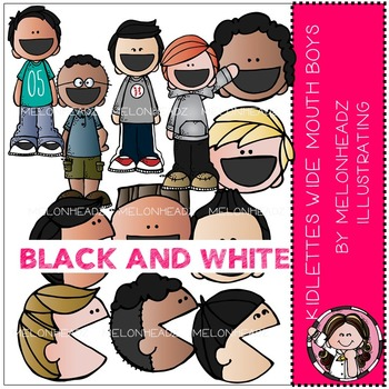 Melonheadz: Kidlettes Wide Mouthed Boys BLACK AND WHITE