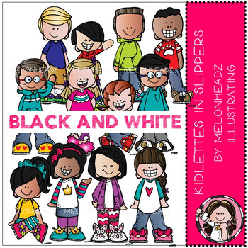 Melonheadz: Kidlettes in Slippers clip art - BLACK AND WHITE