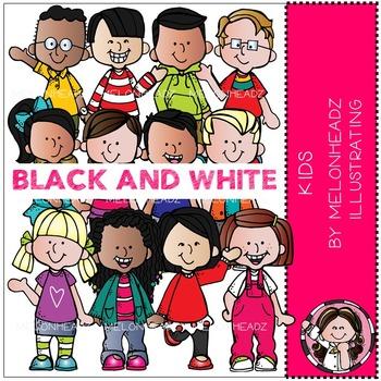 Melonheadz: Kids clip art - BLACK AND WHITE