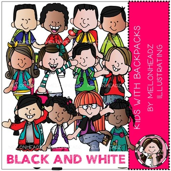 Melonheadz: Kids with Backpacks clip art - BLACK AND WHITE