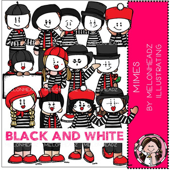 Melonheadz: Mimes clip art - BLACK AND WHITE